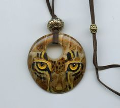 JEWELRY - HAND PAINTED Pendant with Leopard eyes, big cat, jungle, original art, wearable art, wildlife, nature