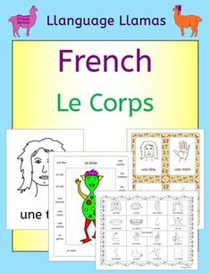 French Parts of the Body - Le Corps.  76 pages of resources to teach 16 French words for parts of the body - great for teaching elementary students. This French parts of the body vocabulary set includes: une tte, une bouche, les dents, un nez, les cheveux, une oreille, un il, un cou, un bras, une main, un doigt, un pouce, un ventre, un pied, une jambe, un genou.You can also buy this in my French Bundle - 8 Topics  The pack comprises:1. 5 pages of suggestions for use of the resources in the…
