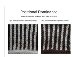 Positional Dominance in stranded / Fair Isle / Norwegian knitting.  Copyright Mary Ann Stephens 2013.  From my April 2013 presentation to the Long Island Knitting Guild, shared in my Ravelry group: Two Strands discussion topic - Newbie looking for help