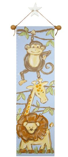 hand painted safari growth chart on canvas by AveQcollection