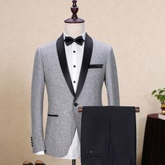 Brand Wool Men's Suits Gray Black Jacket Blazers Slim Fit Male Suit Tuxedos Wedding Prom Geroom Business Jacket+Pants 2 Piece