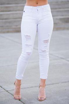 Blank Space Distressed KanCan Skinny Jeans (White) - NanaMacs.com - 1