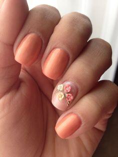 Sensationail Mi Amor & Amber Lights with flowers on accent nail. #gelpolish #sensationail  @SensatioNail
