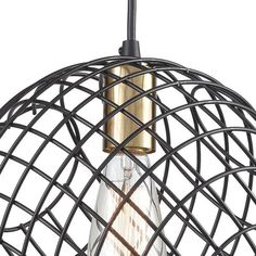 This new Elk Lighting mini pendant from the Yardley collection features a dynamic wire cage design with a Matte Black finish with Satin Brass accents. Pendant Chandelier, Chandelier Lighting, Black Satin, Matte Black, Under The Lights, Elk Lighting, Brass Material, Mini Pendant, One Light