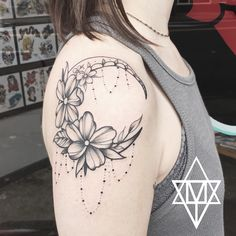 Stipple Moon Tattoo with flowers