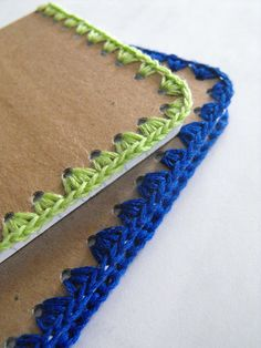 These are gorgeous and can be a diy - Ruby Murrays Musings: Tutorial - Crochet Edged Notebooks
