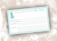 Personalized Bridal Shower Recipe Cards