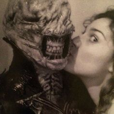 Ashley Laurence with Nick Vince (Kirsty Cotton and the Chatterer Cenobite) from Hellraiser (1987)