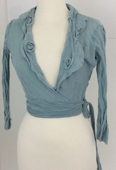 Anthropologie Guinevere Soft wrap Sweater Blue Size M with rosette collar #Guinevere #Cardigan #All