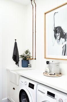 cool 50 Outstanding Black And White Laundry Room Ideas White Laundry Rooms, Modern Laundry Rooms, Bathroom Laundry, Washroom, Laundry Room Organization, Laundry Room Design, Studio Mcgee, Zebra Room Decor, Turbulence Deco