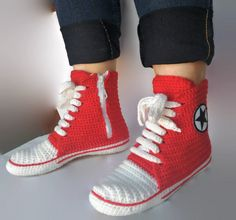 a78d7a963ad9 Knitting Red Converse Crochet Slippers