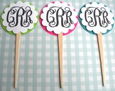 monogrammed cupcake toppers.  cute for either wedding shower or baby 1st bday