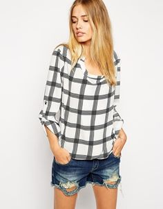 ASOS Grid Print Detail Front and Drape Neck Top