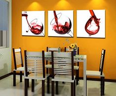 Espritte ArtLarge Red Wine Glasses Picture Painting on Canvas Print without Framed Modern Home Decorations Wall Art set of 3 Each is 5050cm D05328 -- Find out more about the great product at the image link.