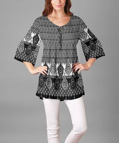 Look what I found on #zulily! Sunflower Black & White Geometric Bell-Sleeve Tunic - Plus by Sunflower #zulilyfinds
