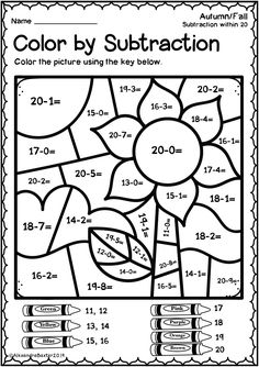 Fall Math Worksheets Grade Autumn Fall Color by Subtraction Worksheets Coloring Worksheets For Kindergarten, Math Addition Worksheets, First Grade Math Worksheets, Free Printable Math Worksheets, Subtraction Worksheets, 1st Grade Math, Grade 1, Subtraction Kindergarten, Sight Word Worksheets
