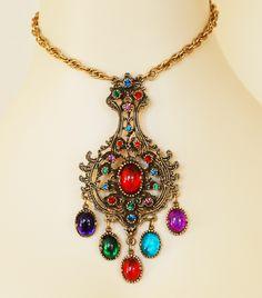 Huge Rhinestone Colorful Cab Pendant Necklace...So Exotic!