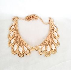 Vintage Gold and Pearl Collar Necklace by LilyAndEllieShop.com, $22.00