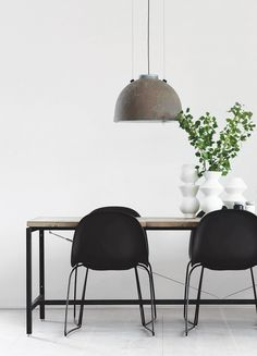 ChicDeco • Industrial Scandinavian dining table and chairs. Concrete pendant