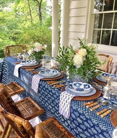 Love the blue and white porch setting