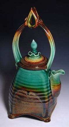Teapot by James Diem | A gorgeous blend of jade and brown glazes perfectly complements the unique shape.