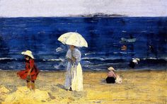The Beach at Dinard , 1907, by Clarence Gagnon