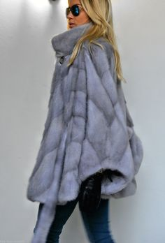 2015 Italy Sapphire Superior Saga Mink Fur Poncho Class of Jacket Coat Sable Fox | eBay