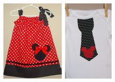 Disney Brother Sister Set - Baby Toddler Girl Boy -Dress and Tie Shirt - Red Black Polka Dots -Perfect for Disney Trips - Mickey Minnie. $49.00, via Etsy.