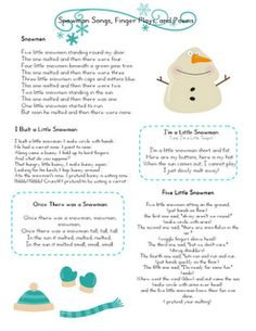 1/29/14 Snowman songs, poems and fingerplays for January Lesson Plans.