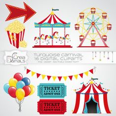 Blue and red carnival / circus 16 digital cliparts INSTANT | Etsy Camp Carnival, Admit One Ticket, Candy Stand, Bicycle Painting, Bicycle Art, Gardenias, Baby Decor, Balloon Decorations, Paper Goods