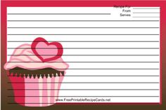 This Pink Heart Cupcake Red Recipe Card features a cupcake decorated with a pink heart on a red background. Free to download and print