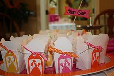 To go Boxes with little Bride cut outs and Asian slaw--yum!