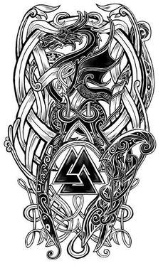 28 Trendy Ideas For Celtic Dragon Tattoo Tatoo Rune Tattoo, Norse Tattoo, Celtic Tattoos, Viking Tattoos For Men, Viking Warrior Tattoos, Viking Tribal Tattoos, Totem Tattoo, Celtic Knot Tattoo, Tattoo Sleeve Designs