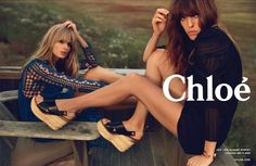 Model Julia Stegner (along with singer/style-crush Lou Doillon) models a crochet look in Chloé's SS14 ad campaign