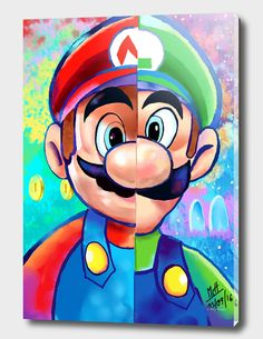 Mario Und Luigi, Super Mario And Luigi, Super Mario Art, Super Mario Games, Super Mario World, Super Mario Brothers, Cartoon Kunst, Cartoon Drawings, Cartoon Art