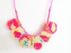 Bright Neon Pom Pom Necklace/Festival Necklace by HFCO on Etsy, £15.00