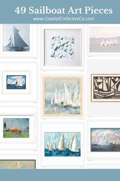 49 Sailboat Art Pieces Sailboat Art, Us Beaches, Ballard Designs, Coastal Homes, Staple Pieces, Coastal Style, Custom Paint, Design Art, Art Pieces