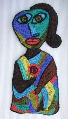 Picasso-inspired freeform crochet art by Bonnie Prokopowicz