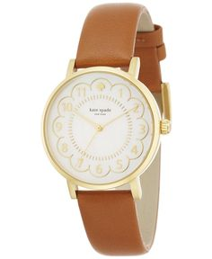 kate spade new york Women's Metro Luggage Leather Strap Watch 34mm 1YRU0835 - Kate Spade New York - Jewelry & Watches - Macy's