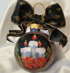 Hand Painted Christmas Ornament Cottage Chic Candles Lace Poinsettias HP Glass