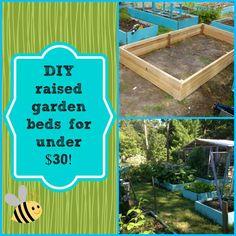 DIY raised garden beds for under $30! Raised Garden Bed Plans, Building Raised Garden Beds, Raised Beds, Diy Garden Projects, Garden Crafts, Diy Crafts, Garden Pictures, Planting Vegetables, Balcony Garden