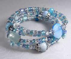 'Aqua and Blue Wrap Bracelet' is going up for auction at  3pm Fri, Aug 3 with a starting bid of $10.