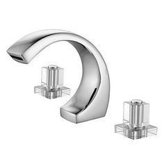 Chrome Finish Two Handles Contemporary Widespread Bathroom Sink Tap