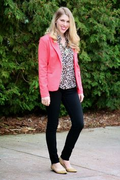 Coral Blazer and Leopard Blouse with black pants or jeans, nude flats | great outfit for casual Friday or the weekend