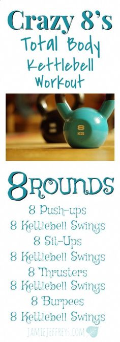 All you need is one piece of equipment for this total body kettlebell workout! Kettlebell swings,thrusters, burpees, push-ups, and sit-ups make for an awesome workout! Kettlebell Training, Kettlebell Swings, Circuit Kettlebell, Best Kettlebell Exercises, Kettlebell Challenge, Kettle Bell Ab Exercises, Beginner Kettlebell Workout, Crossfit Ab Workout, Kettlebell Benefits