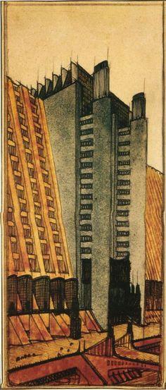 1914 ANTONIO SANT'ELIA Studio per la 'Città Nuova', casa a gradinata su più piani