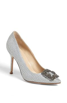 Manolo Blahnik 'Hangisi' Jeweled Pump available at #Nordstrom. Under black or charcoal trousers... stunning!