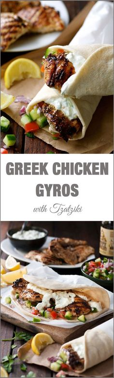Gyros with Tzaziki Greek Chicken Gyros with Tzatziki - the marinade for the chicken is so good, I use it even when I'm not making gyros!:Greek Chicken Gyros with Tzatziki - the marinade for the chicken is so good, I use it even when I'm not making gyros! Think Food, I Love Food, Food For Thought, Good Food, Yummy Food, Tasty, Chicken Gyro Recipe, Chicken Gyros, Chicken Recipes