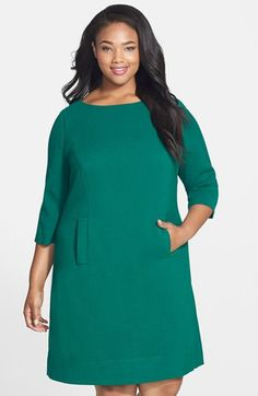 Free shipping and returns on Eliza J Pocket Detail Shift Dress (Plus Size) at Nordstrom.com. Besom pockets front and center add youthful flair to a polished bateau-neck shift fitted with princess seams and back darts for a flattering, nipped silhouette.