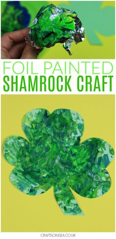 This foil painted shamrock craft is a super easy and super fun St Patricks Day activity for kids that uses supplies from your kitchen to make an easy sensory activity or messy play painting activity. #stpatricksday #kidsactivities #preschool #kidscraft #craftsforkids